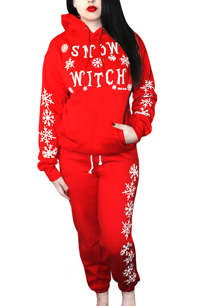 Snow Witch Drawstring Graphic Sweat Pants- Red