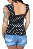 Vylette V-Sleeve Cowgirl Pinup Top ~BW Polka Dot