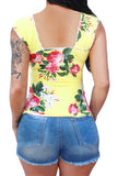 Vylette V-Sleeve Cowgirl Pinup Top ~Marina Rose Yellow
