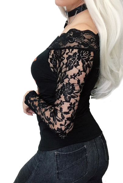 Wicked Pumpkin Off Shoulder Lace Tee