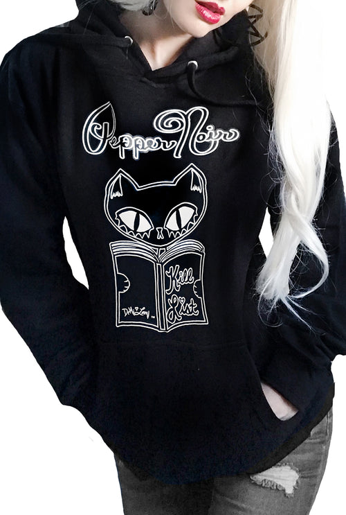 "Gothic Pullover Cat Hoodie- Pepper Noir ""Kill List"""