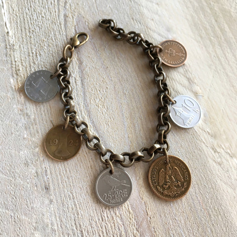 family history bracelet - custom coin jewelry