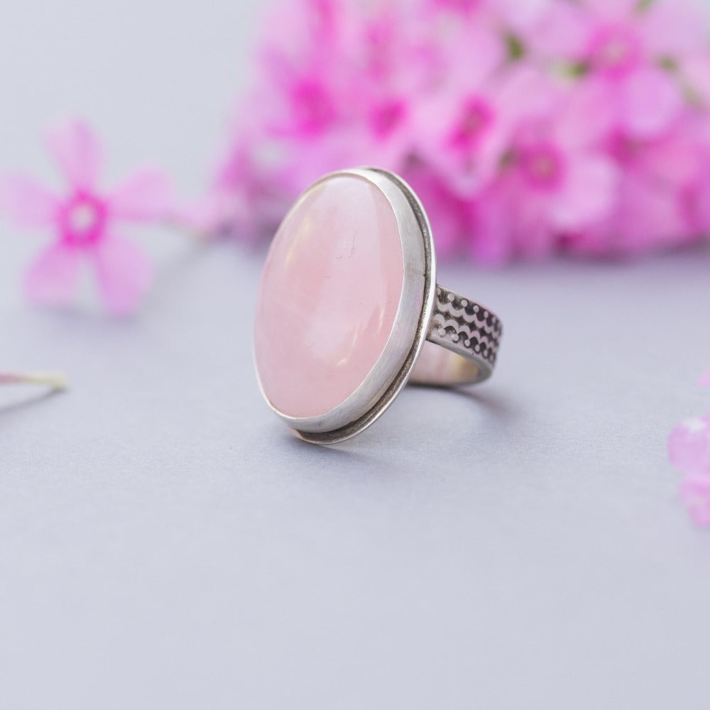 Rose Quartz Statement Ring