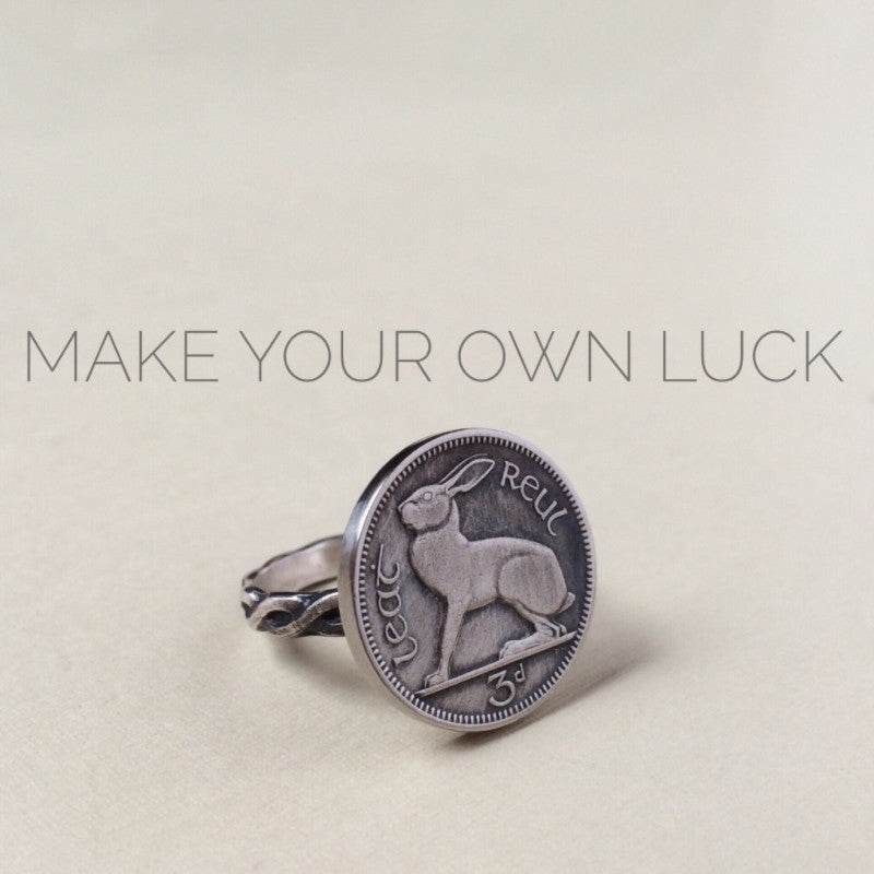 lucky rabbit ring-irish coin ring