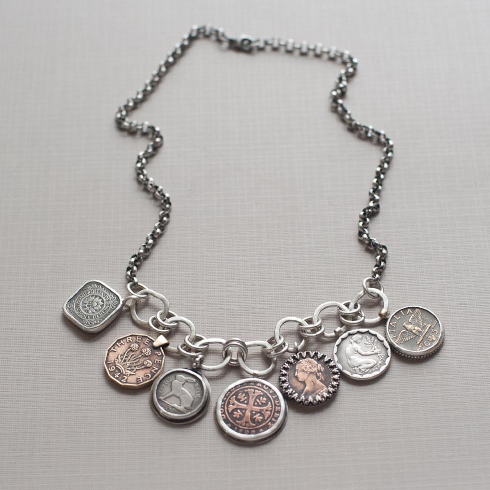 Family History Necklace-geneaology gift-coin necklace