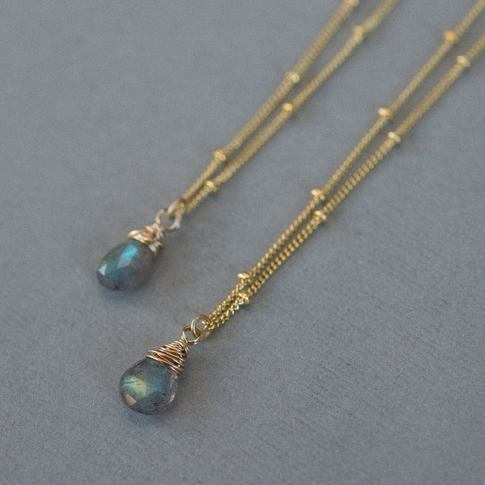 Labradorite & Gold Satellite Necklace