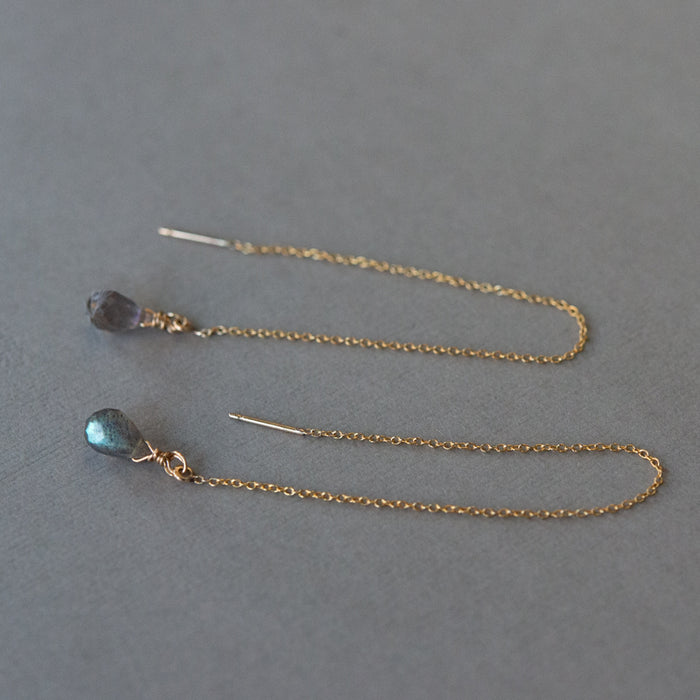 Labradorite & Gold Threader Earrings