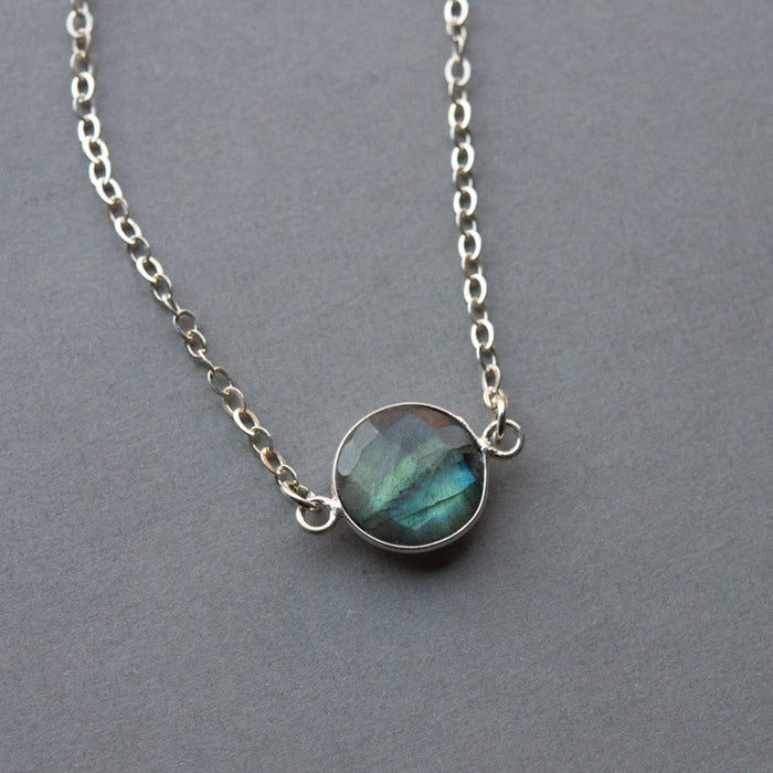 Labradorite Moon Necklace (in silver)