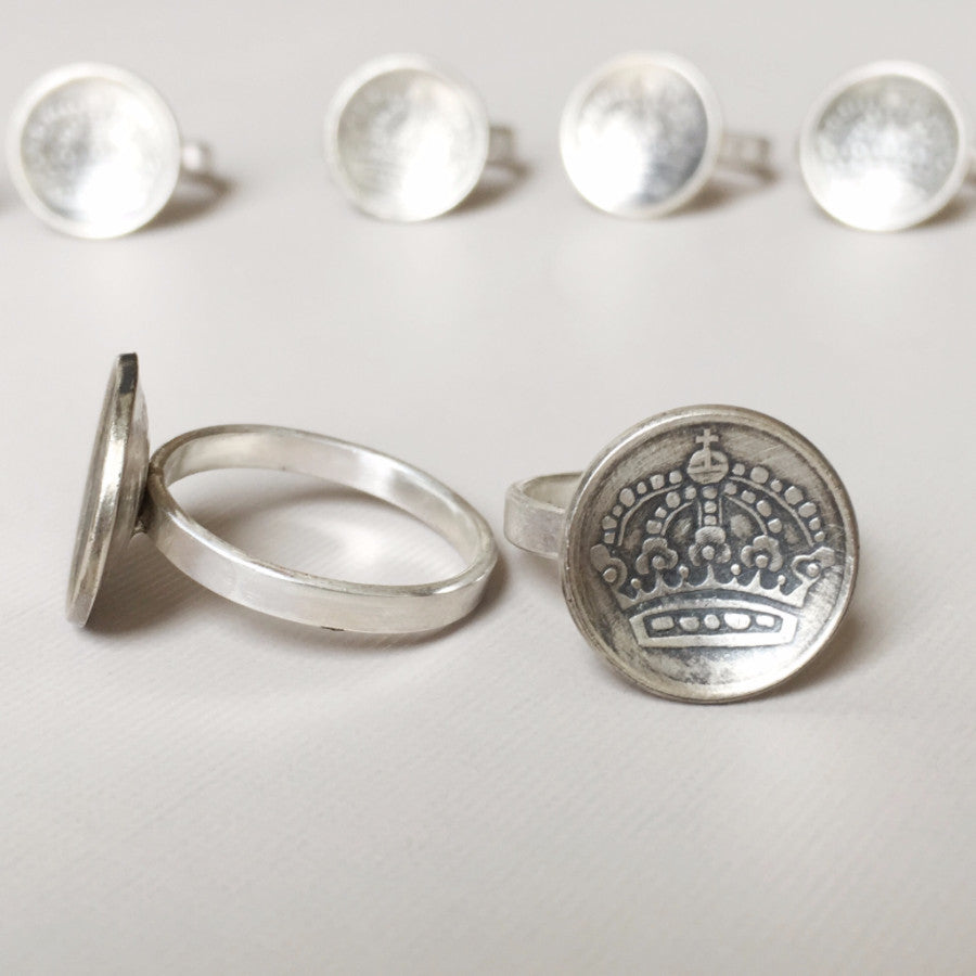 Swedish Coin Ring - Crown- Her Majesty