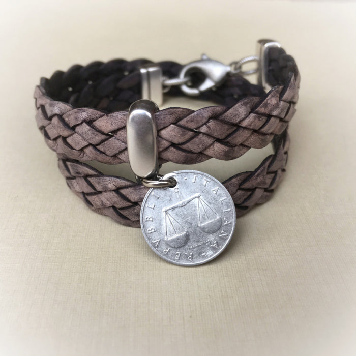 Italian coin bracelet-leather wrap