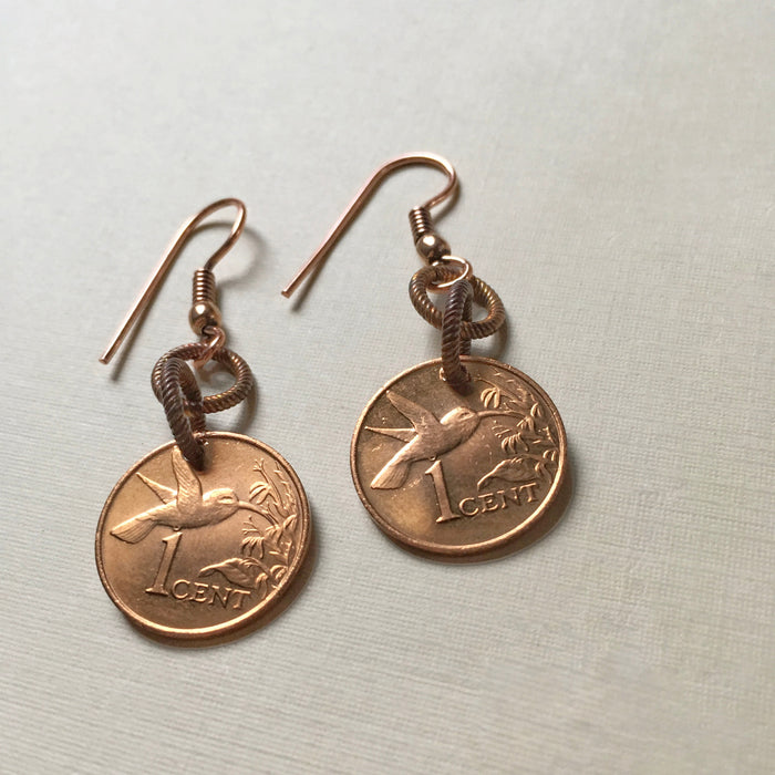 coin earrings-hummingbird-trinidad and tobago coin