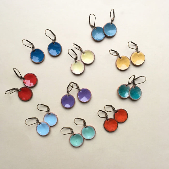 enameled penny earrings