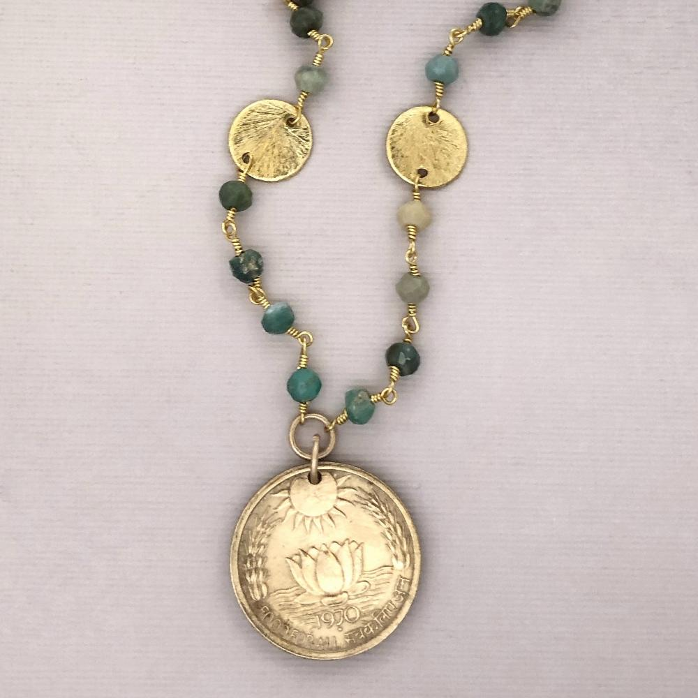 lotus coin long necklace