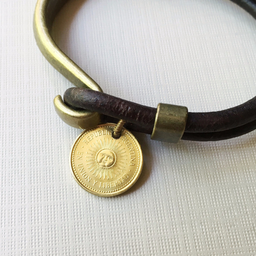 Sun Coin leather/metal cuff bracelet