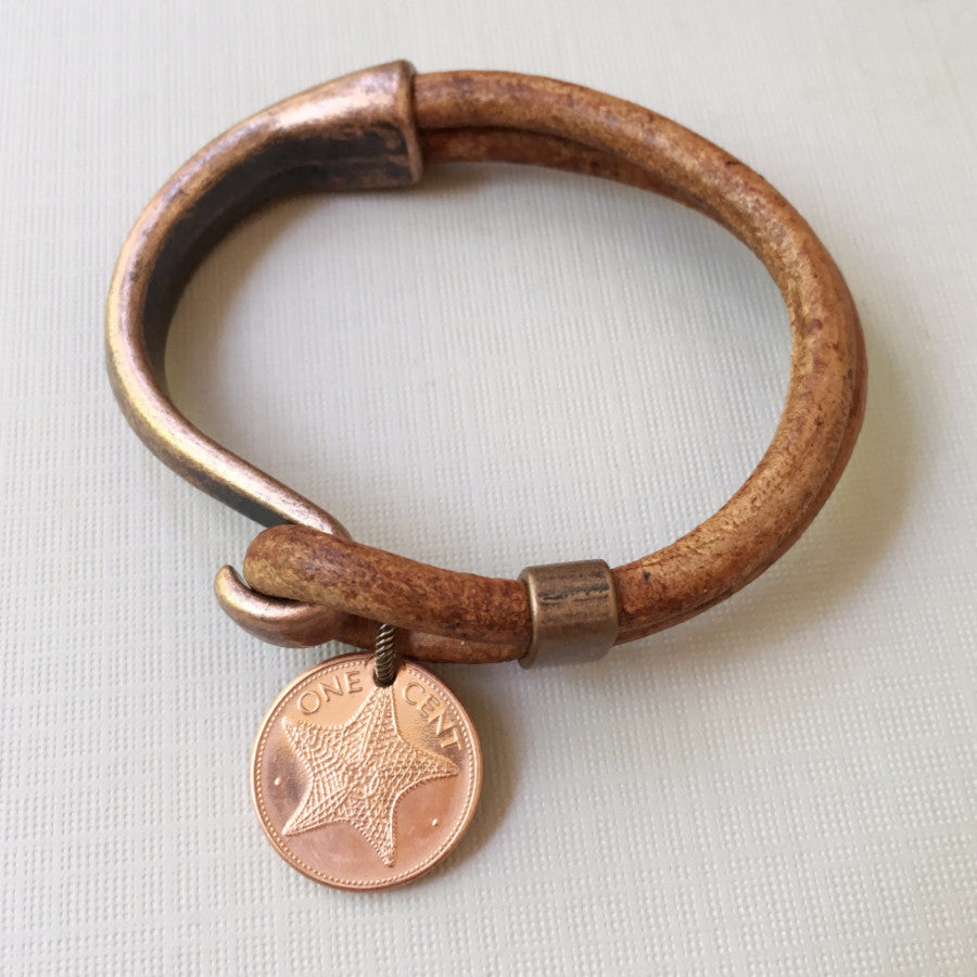 Starfish coin leather/metal cuff bracelet