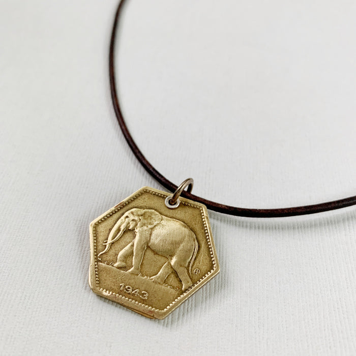 Elephant Hexagon Coin Necklace