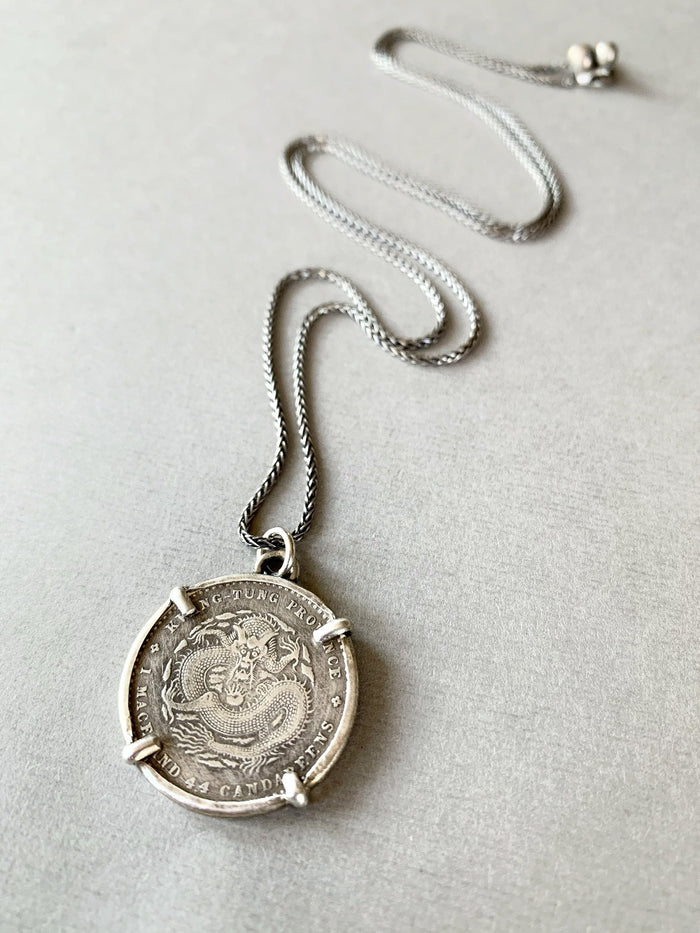Chinese dragon coin necklace