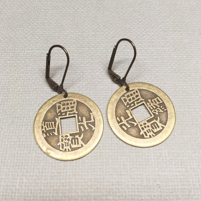 Feng Shui coin earrings