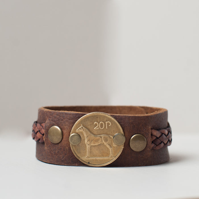 Irish Horse coin leather cuff