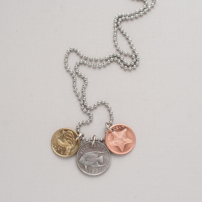 sea creatures coin necklace