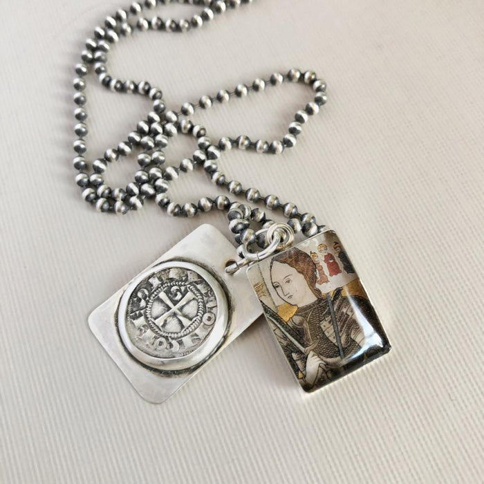 Joan of Arc French Obol coin necklace