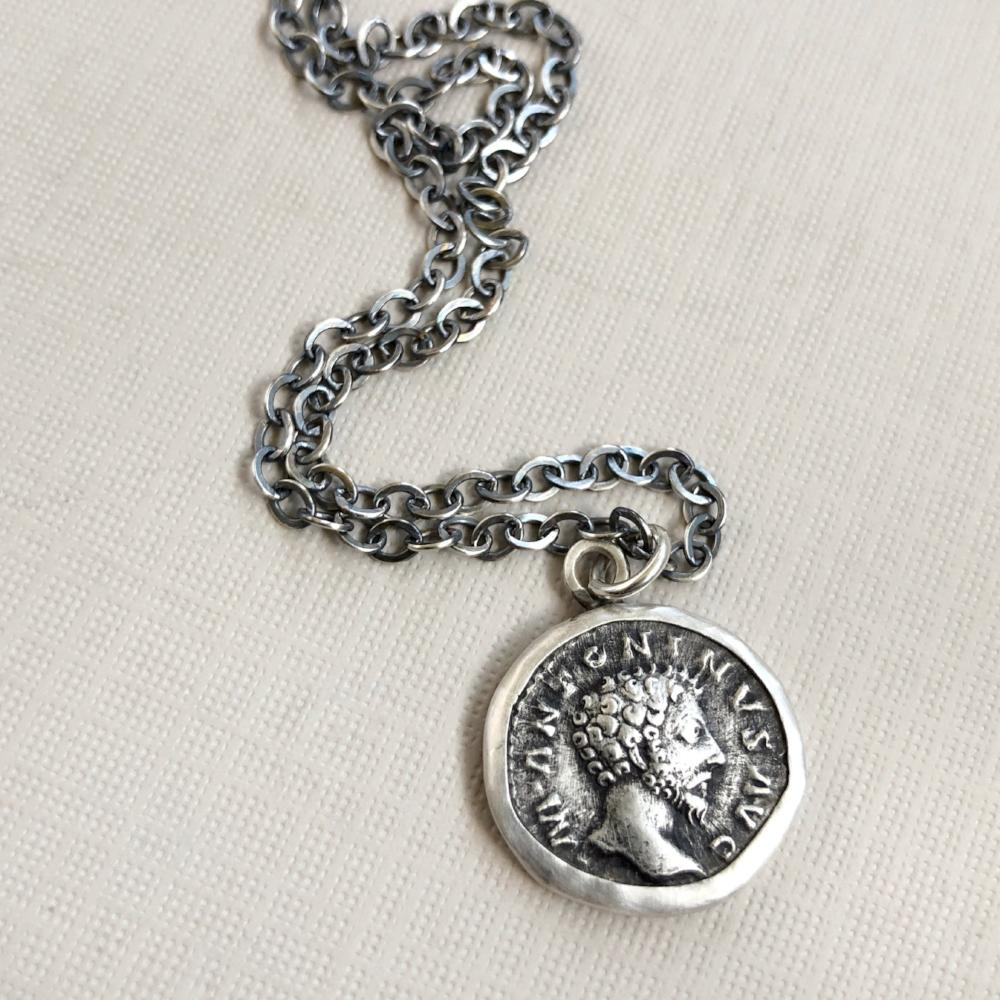 Marcus Aurelius roman coin necklace