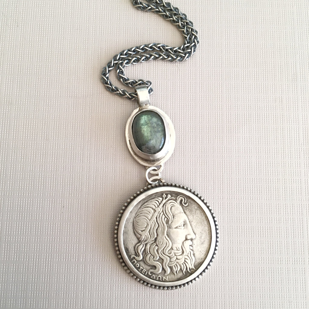 Greek God Poseidon Coin Necklace