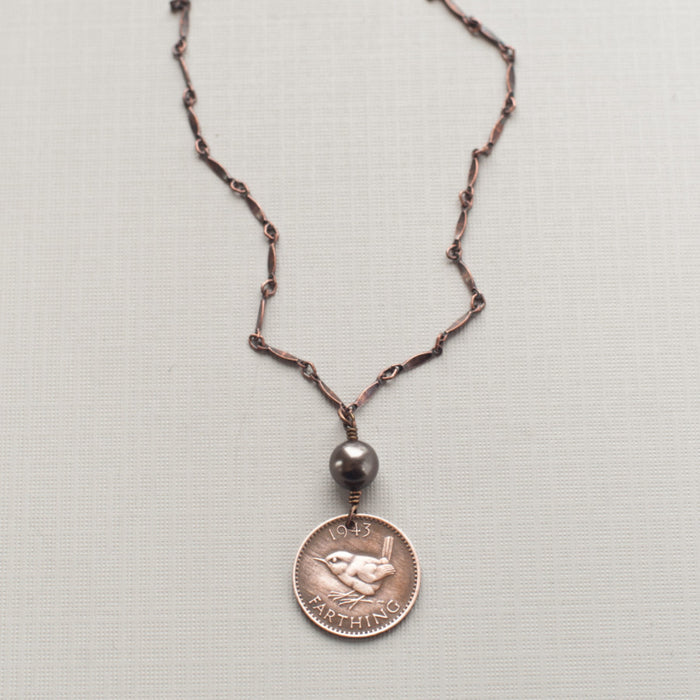 Bird Coin Necklace - Farthing - coin jewelry