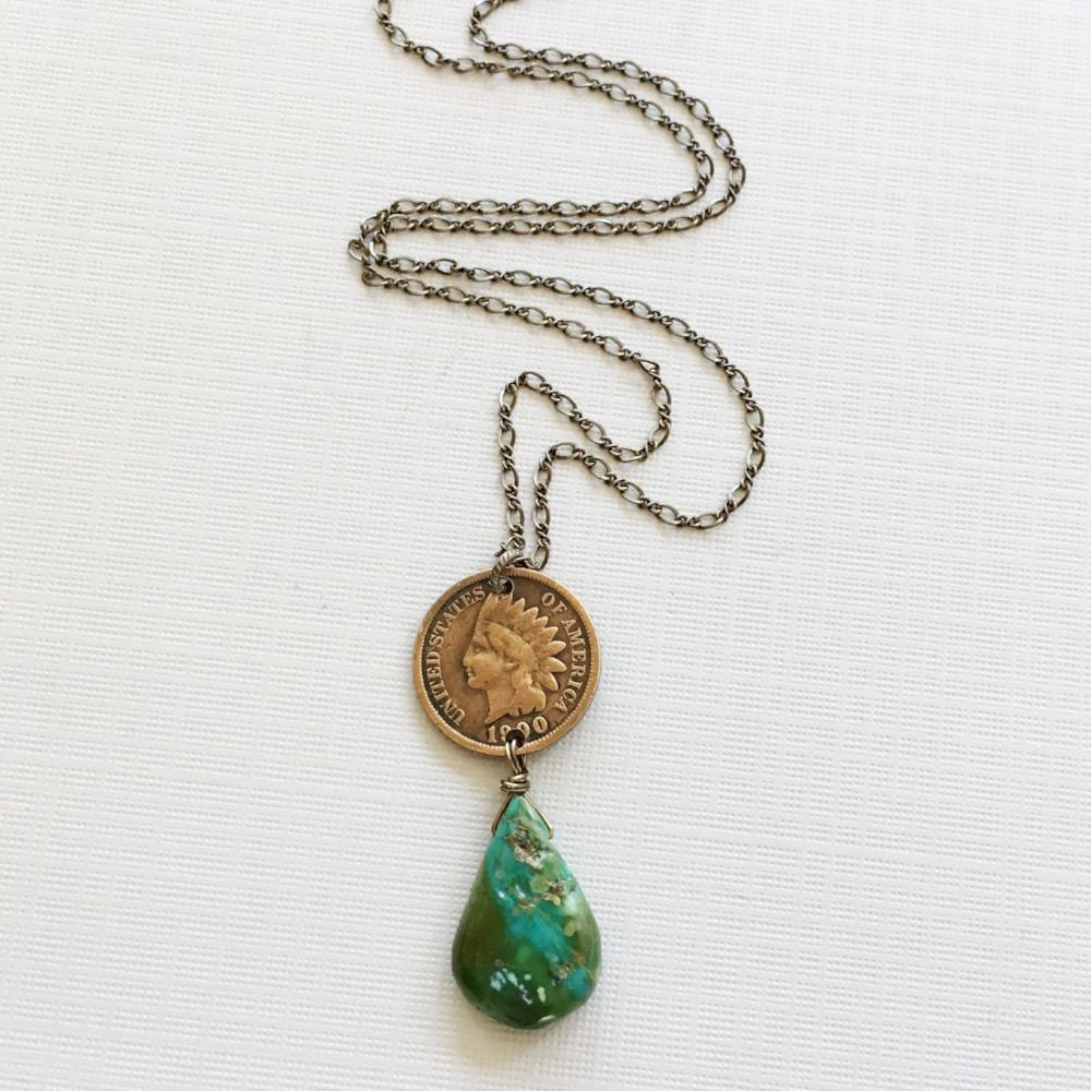 Indian cent turquoise necklace
