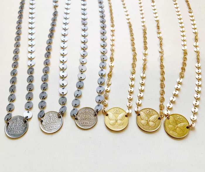 Butterfly Coin Necklace
