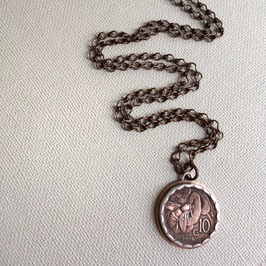 Italian coin honeybee necklace