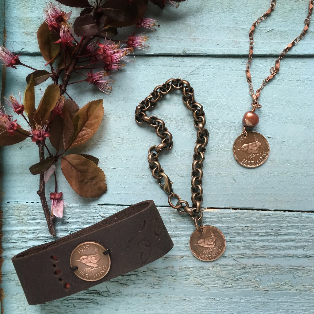 bird coin jewelry - british farthing - bird