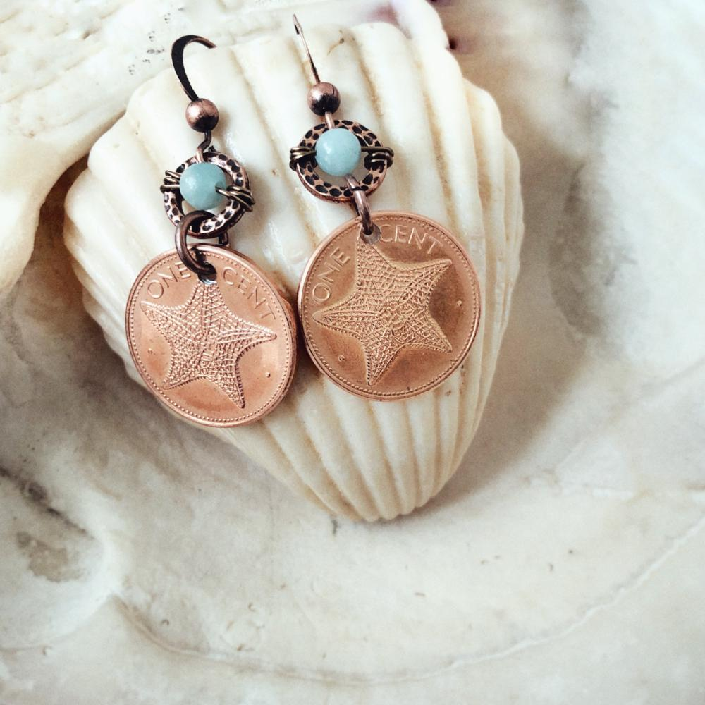 Starfish coin earrings