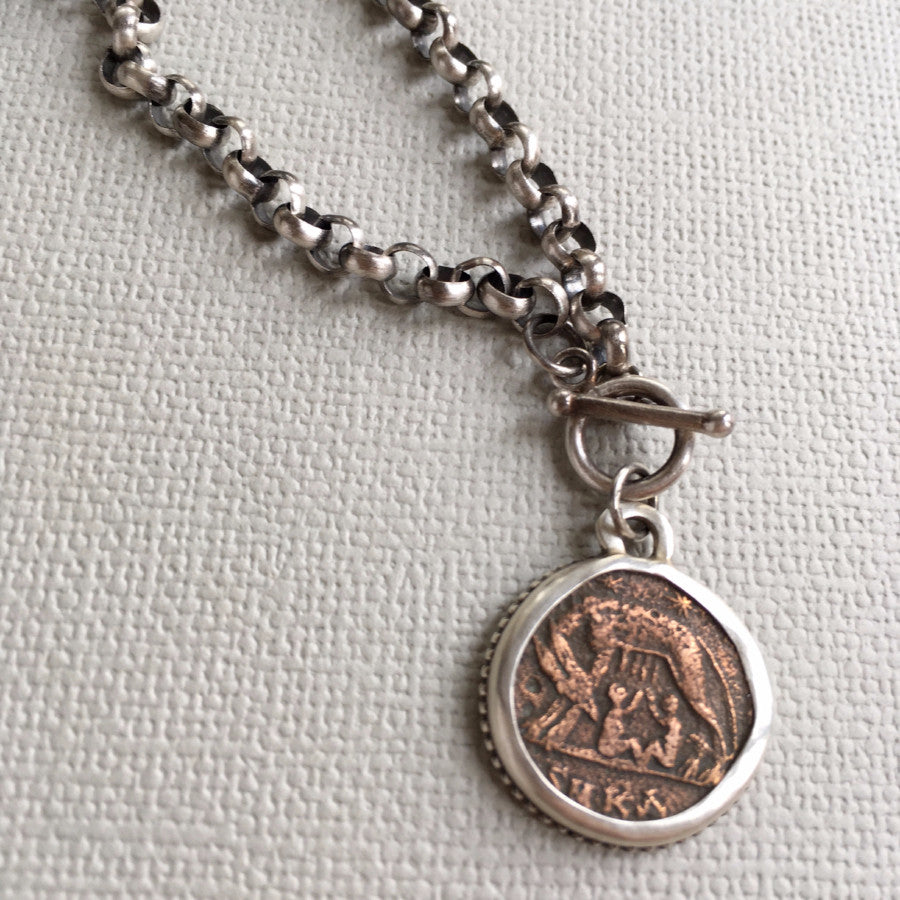 She-Wolf ancient Roman coin necklace