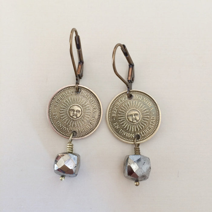 Argentina sun coin earrings-coin jewelry