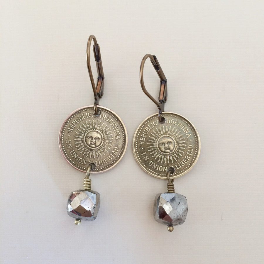argentina coin jewelry-earrings-sun earrings