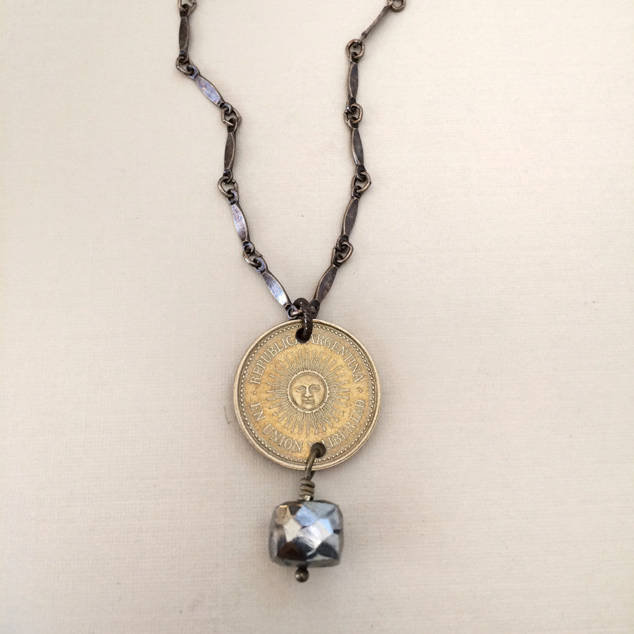 Argentina sun coin necklace-coin jewelry-radiant sun