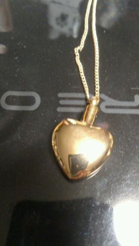Cremation Urn necklace Jewelry gold tone heart with chain memorial urn