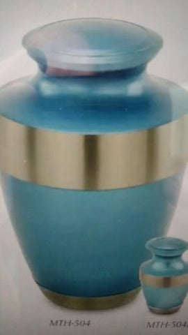 Adria urn blue with silver band