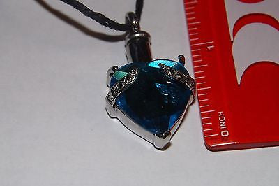 Cremation Urn Jewelry memorial heart blue crystal  keepsake personal memorial