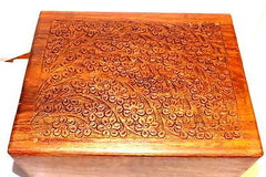 cremation urn box wood with design TREE OF LIFE  260 cubic inch xlarge RWB-TC