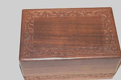 wood cremation urn box dark wood with double design new up to 220 cubic inch RWA