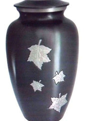 Mother of pearl inlay Green Leaf adult memorial cremation urn 200 cubic Inches