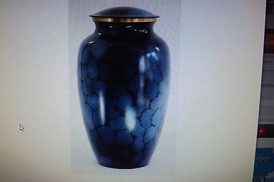 Adult cremation urn mystic blue brass
