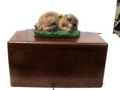 wood pet urn with figurine on top small to medium pet 40 cubicPersonalised