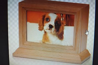 "Oak Wood 4"" x 6"" Photo Frame Pet Urn with Base"