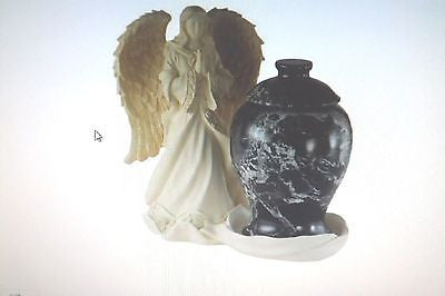 Angel & Black Ginger Jar Memorial Keepsake Urn - Made in U.S.A.
