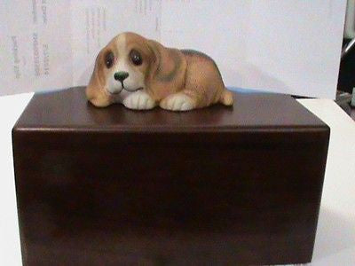 wood pet urn with figurine on top small to medium pet 40 cubic Personalised