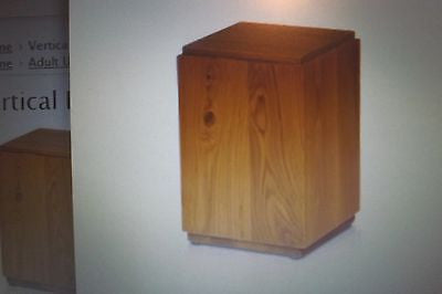Vertical Birch Wood Cube Urn with Honey Finish - A