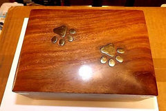 Rosewood Cremation Urn with pet paw print